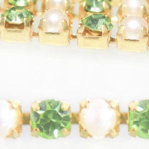 1m de 1 1 mètres chrysolite vert blanc perle de la coupe de la chaîne en laiton strass garniture de  sku-133766