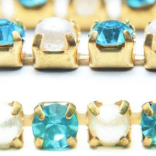 1m de 1 1 mètres de l'aigue-marine bleu blanc perle de la coupe de la chaîne en laiton strass garnit sku-133767