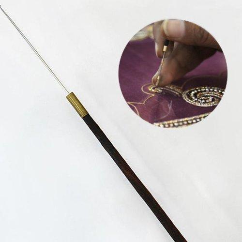 1pc bois de fer des paillettes à coudre de broderie aari de minuscules aiguilles à perles orfèvrerie sku-133777