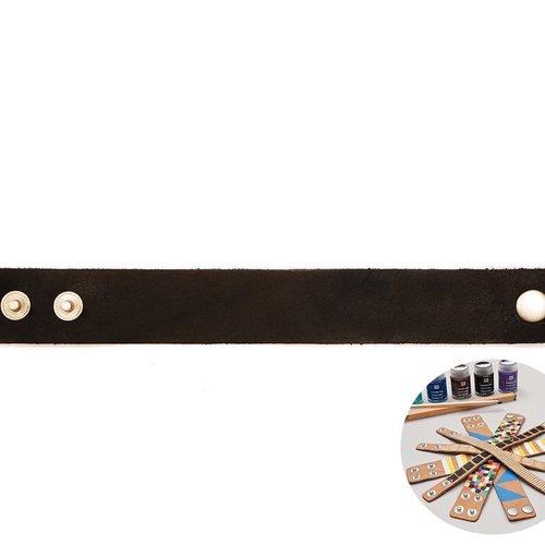 1pc noir faux cuir minimaliste bracelet manchette base vide rico design 22 cm x 3 cm résultats brico sku-133002