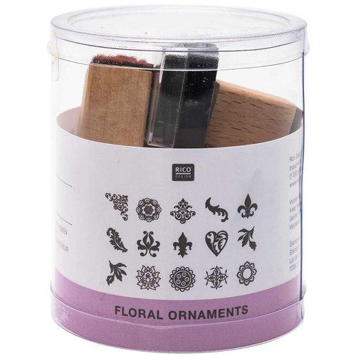 15pcs ornements floraux ensemble de timbres personnalisés le caoutchouc le message le bricolage les  sku-133085