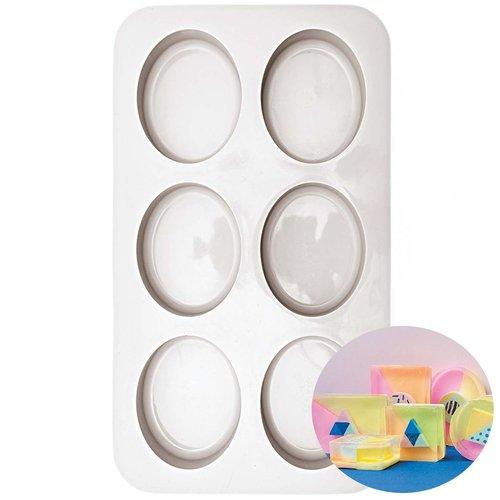 1pc 6 ovale moule en silicone de réglage du support de savon plaque de cuisson fondant de cuisine us sku-133054