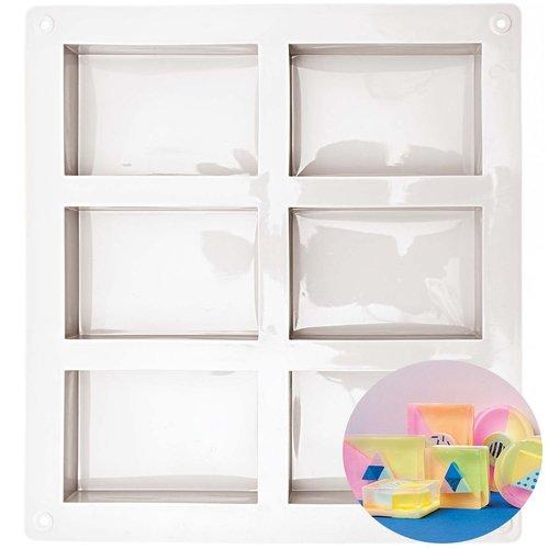 1pc 6 rectangles moule en silicone de réglage du support de savon plaque de cuisson des cubes de gla sku-133055