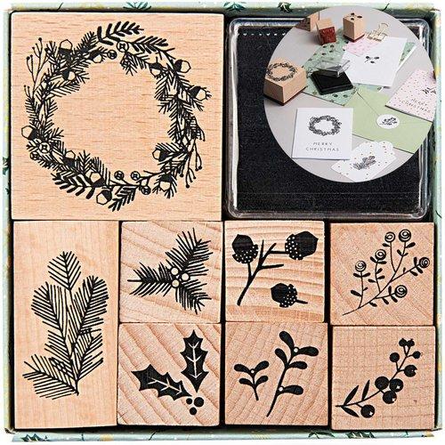 8pcs couronne de fleur de noël faits à la main ensemble de timbres de l'artisanat carte personnalisé sku-133061