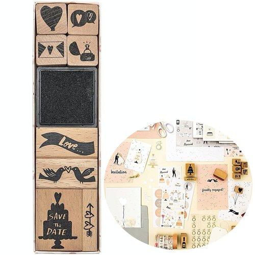 8pcs de mariage le bricolage de l'artisanat de l'amour à la main ensemble de timbres personnalisés l sku-133067