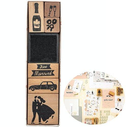 6pcs vient de se marier le mariage l'amour fait à la main ensemble de timbres personnalisés le caout sku-133069