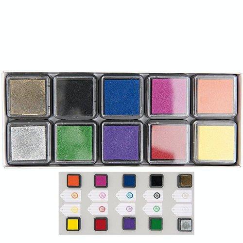 10pcs stamp pad set carré éponge mini-tampon encreur craft doigt timbre pour le bricolage pigment sc sku-133071