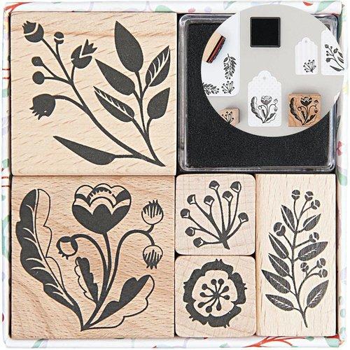 5pcs romantique fleur fait à la main ensemble de timbres personnalisés le caoutchouc le message le b sku-133072