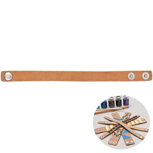1pc brun clair simili cuir minimaliste bracelet manchette base vide rico design 22cm x 1 en bricolag sku-133003