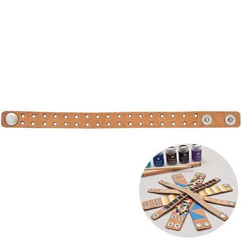 1pc brun clair de point de croix de manchette en faux cuir réalisable bracelet de base blanc broderi sku-133004