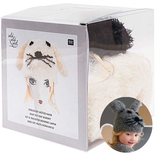 1pc blanc crème chapeau de lapin kit d'aiguilles à tricoter à la main pour les débutants les enfants sku-133030