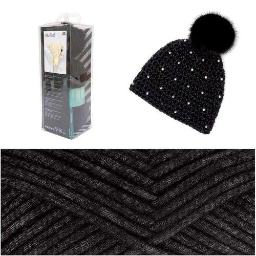 1pc noir pompon chapeau strass crochet tricot cap kit fait à la main pour les débutants les enfants  sku-133036