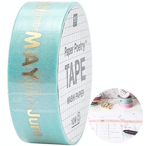 1pc mois washi ruban de papier de calligraphie agenda personnalisé balle de journal planificateur de sku-133074