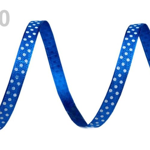 20m satin bleu marine largeur du ruban 6mm pois 2e quantité rubans - avec mercerie sku-71104