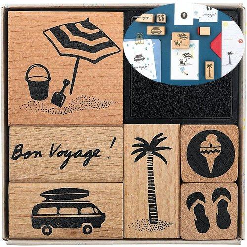 6pcs bon voyage de la mer à la main ensemble de timbres de cartes personnalisé personnalisés le caou sku-133089