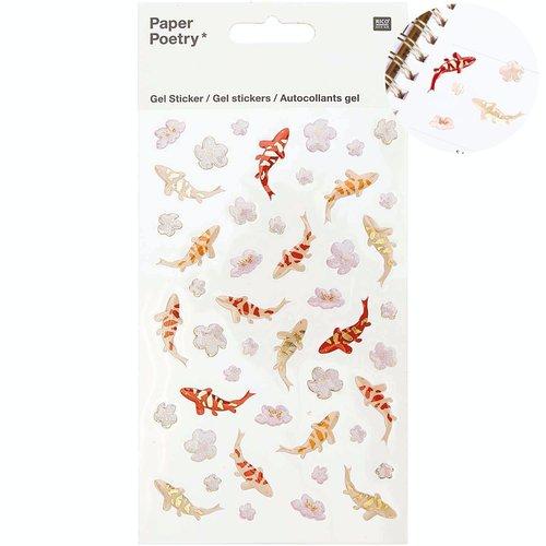 1pc jardin japonais koi poissons fleur de gel feuille d'autocollants personnalisés bullet journal pl sku-133093