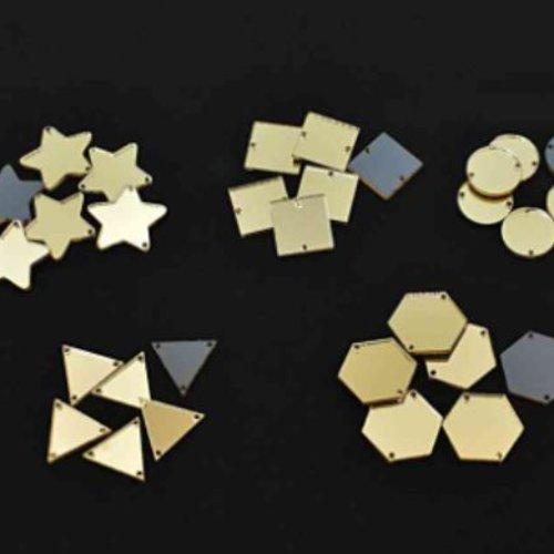 30pcs or mélange acrylique miroir coudre sur la décoration de broderie à la main orfèvrerie lunevill sku-133738