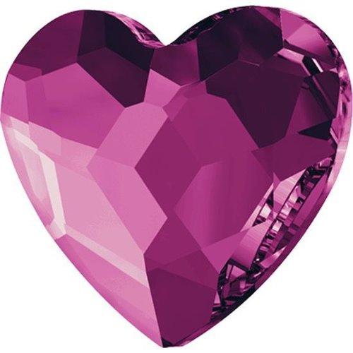 6pcs fuchsia 502 cœur de dos plat en verre de cristaux de rose 2808 swarovski elements saint-valenti sku-146336