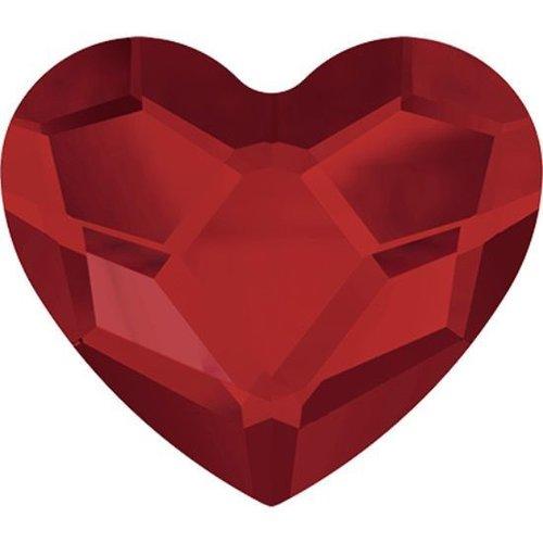 6pcs light siam 227 cœur de dos plat en verre de cristaux rouge 2808 swarovski elements saint-valent sku-146337
