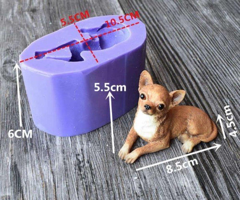 Chihuahua De Race De Chien 3D En Silicone De Chocolat Savon Gâteau Fondant Cire Gelée De Bougie Moul SKU-79006