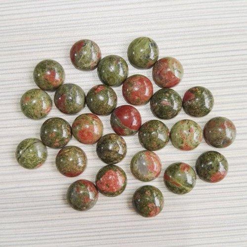 5 pièces vert rouge en forme de dôme rond unakite focal pierre en de bohème bijoux naturelle 12mm sku-243777