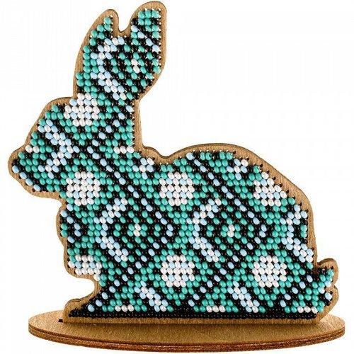 Turquoise lapin sur le stand de perles de pâques kit de bricolage en bois toile broderie artisanale  sku-255014