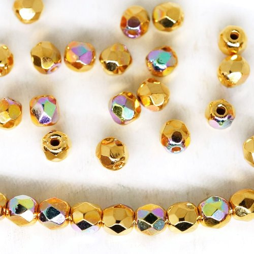 100pcs réel 24k plaqué or ab demi-rond à facettes feu poli petite entretoise de verre tchèque perles sku-249295