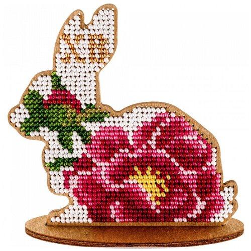 Fleur rose de lapin de sur le stand de perles de pâques kit de bricolage en bois toile broderie arti sku-255012