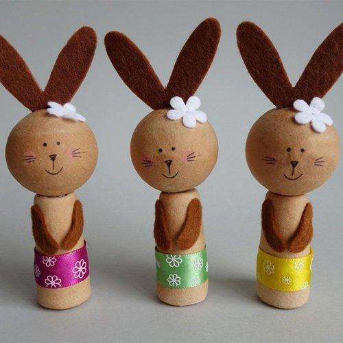 3pcs kit de bricolage 3 lièvres de pâques avec des fleurs de ruban lapin pot bâton animal décor à la sku-253443