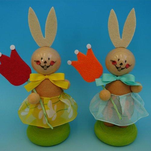 2pcs kit de bricolage 2 lièvre de pâques w tulip lapin de décoration pour la maison des enfants des  sku-253436