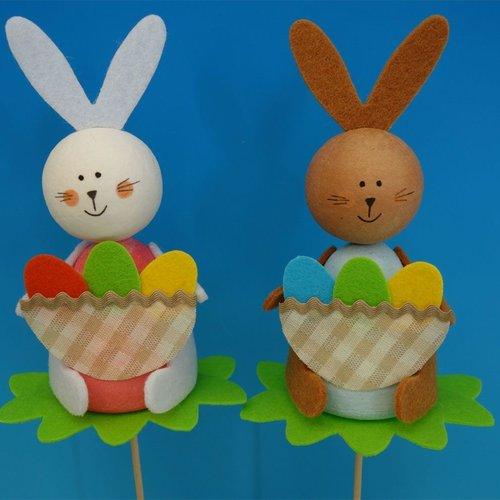 2pcs kit de bricolage 2 lapin de pâques avec le sac et les oeufs pot bâton animal décor à la maison  sku-253441