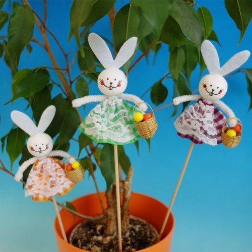 3pcs kit de bricolage 3 lapin de pâques avec un panier pot bâton animal décor à la maison les enfant sku-253439