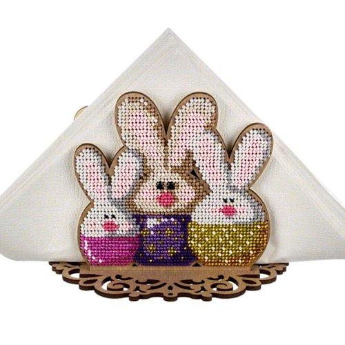 3 de lapin de porte-serviettes en perles de pâques kit de bricolage en bois toile broderie artisanal sku-255020