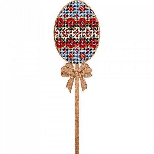 Bleu rouge œuf sur le bâton de perles de pâques kit de bricolage en bois toile broderie artisanale e sku-255007