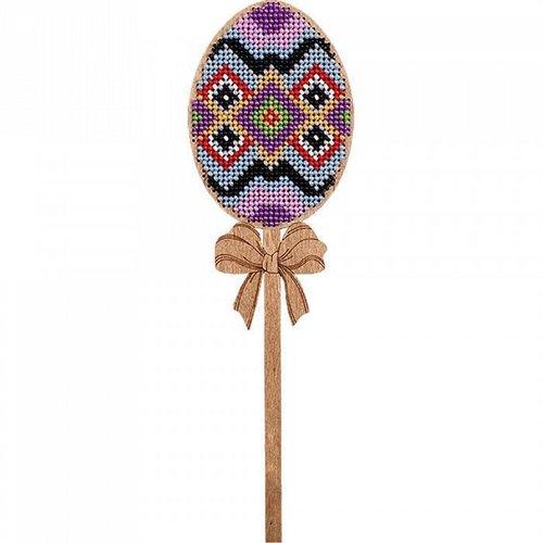 Losange œuf sur le bâton de perles de pâques kit de bricolage en bois toile broderie artisanale ense sku-255008