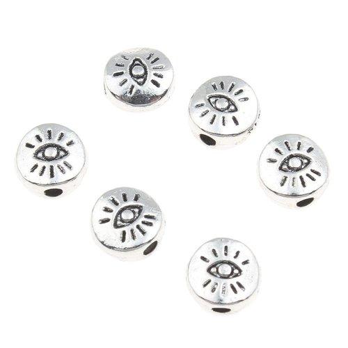 50pcs argent antique œil à plat monnaie rond en métal de bijoux de perles de 6mm x 3mm trou 1mm sku-43711