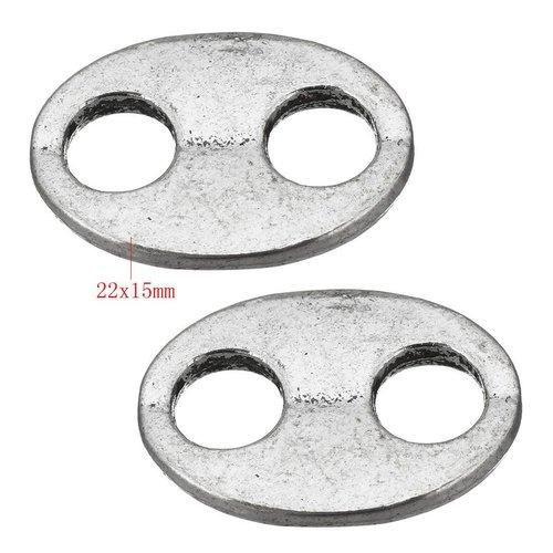2pcs en acier inoxydable ovale plat wrap bracelet bouton fermoirs en métal 2 trous connecteur tchèqu sku-254788
