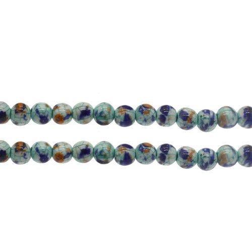 10pcs bleu turquoise marron craquelure bobo céramique émail de perles rondes en porcelaine de 8mm sku-255899