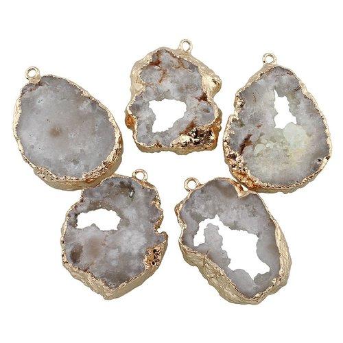 1pc cristal d'or de la tranche druzy géode de glace quartz agate de pierre naturelle plaqué focal co sku-254932
