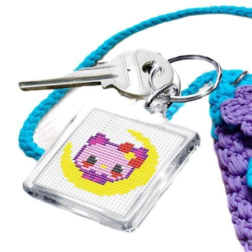 Chaton étoile point de croix broderie diy kit double face porte-clés kit main artisanat kit débutant sku-254494