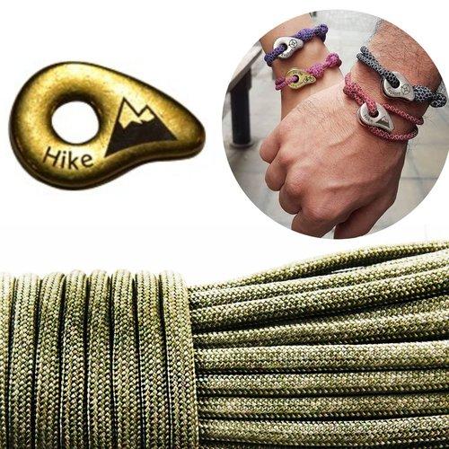 1 diy bracelet kraftika kaki randonnée en laiton antique plaqué métal zamak paracord de survie messa sku-259993