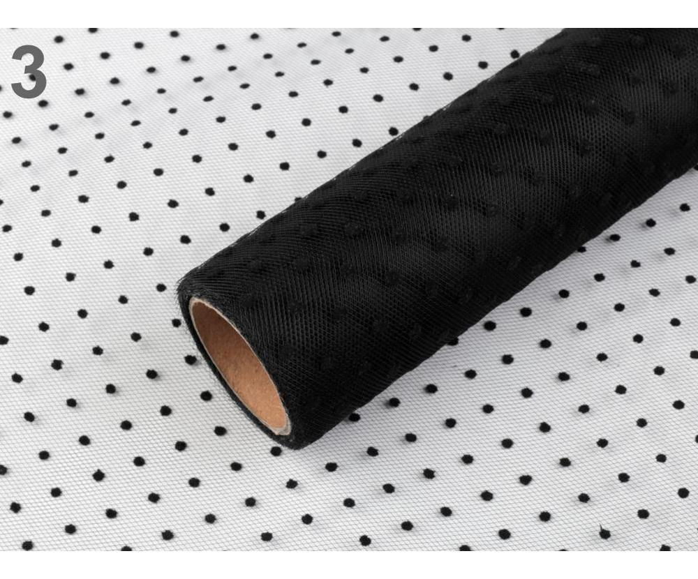 4 5 M Noir Décoratif En Tulle À Pois Largeur 50Cm De L'Artisanat Du Ruban De La Dentelle Toile D'Ara SKU-66964