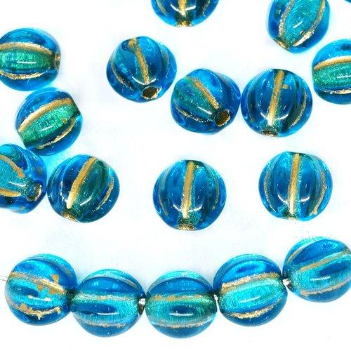 40 pcs cristal bleu or lavage fruits perles rondes tchèque verre melon halloween citrouille 6mm sku-271458