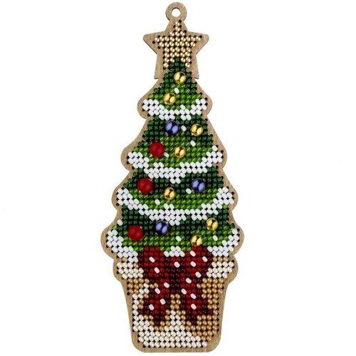1 pc kit de bricolage perlé de graine d'arbre de noël ornement de sur toile en bois kit de artisanal sku-687269