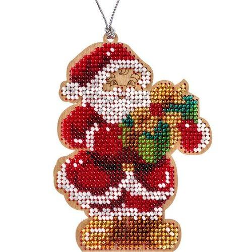 1 pc kit de bricolage perlé de graine de père noël ornement d'arbre de sur toile en bois kit de arti sku-687243
