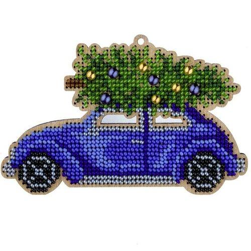 1 pc voiture bleue avec kit de bricolage perlé de graines d'arbre de noël ornement de sur toile en b sku-687266