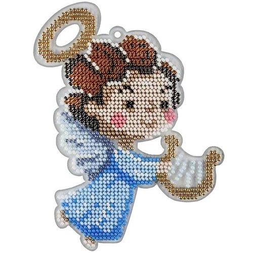 Kit de bricolage perlé de graine d'ange de musique 1pc ornement d'arbre de noël sur toile en plastiq sku-687230