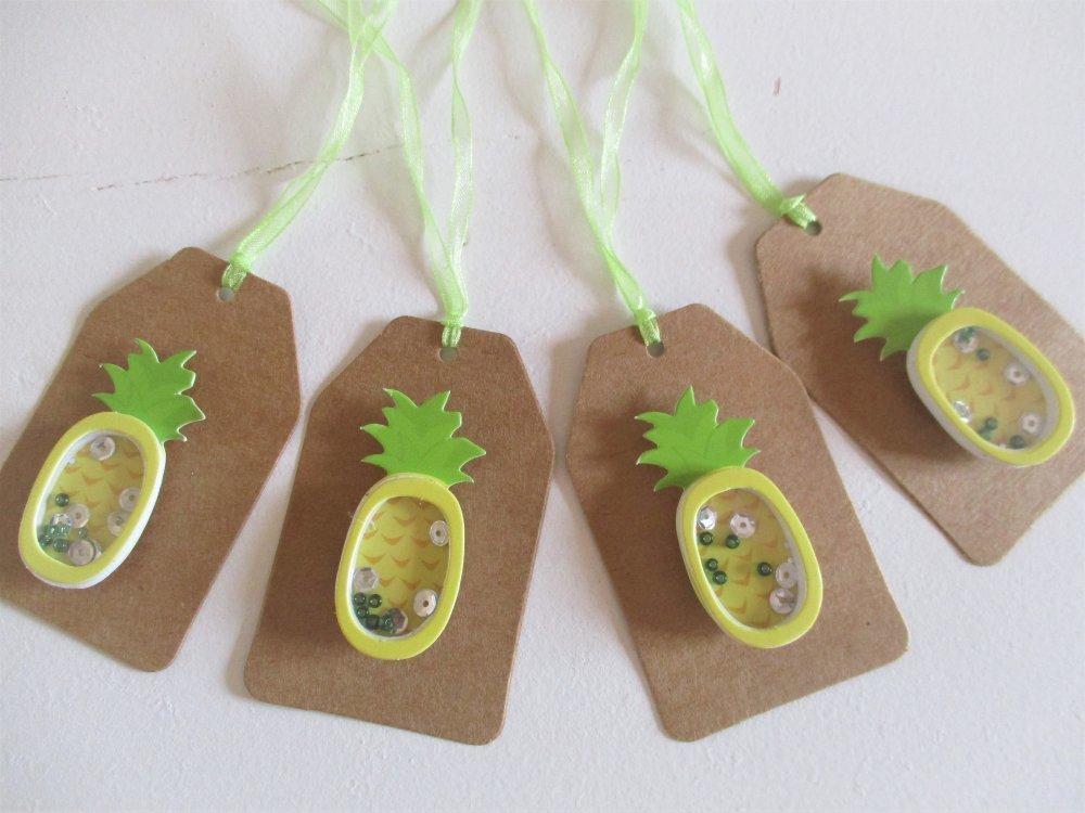 Etiquettes cadeaux, lot de 4, décor ananas 3D