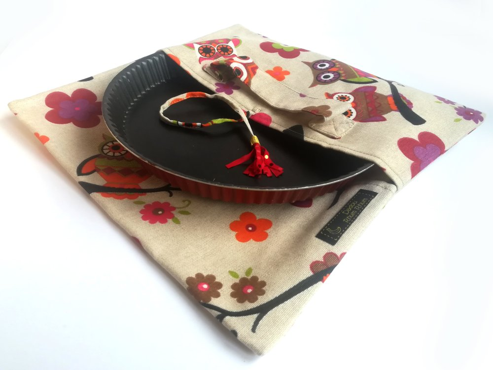 sac à tarte, sac porte-plat, cadeau cuisine, hiboux, diamètre 20 à 26cm