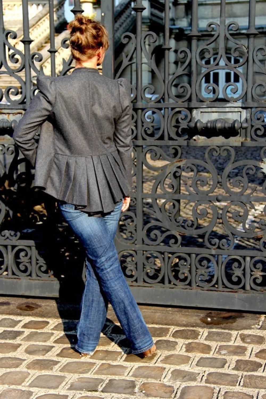Veste grise manches bouffantes à basque